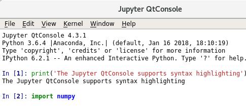 Интерфейс Jupiter QtConsole