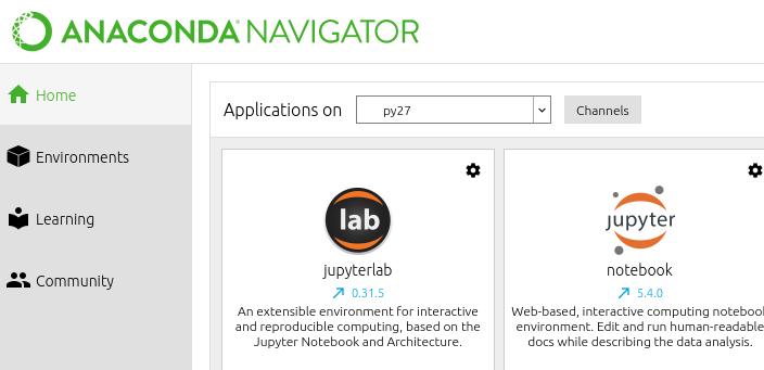 Поиск приложений в Anaconda Navigator