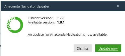 Уведомление об обновлении Anaconda