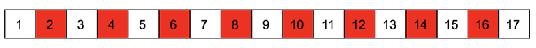 Схема номеров игр с 1 по 17-ю. Четные игры отмечены красным.