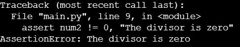 Скриншот вывода с AssertionError и дополнительным сообщением