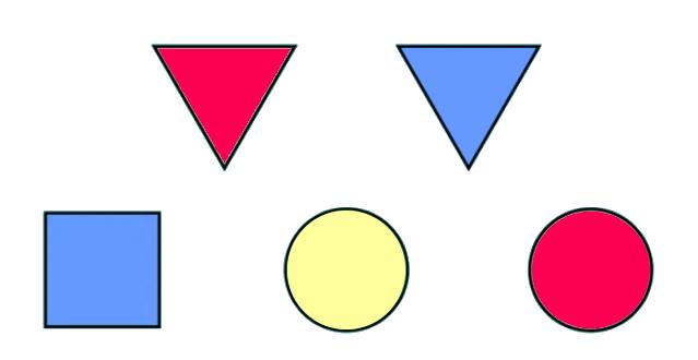 Фигуры, под одной из которых спрятан сюрприз Сережи: красный треугольник, синий треугольник, синий квадрат, желтый круг, красный круг
